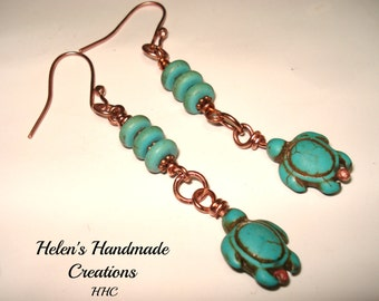 Wire wrapped turtle earrings copper, dyed howlite ,turquoise rondelle beads
