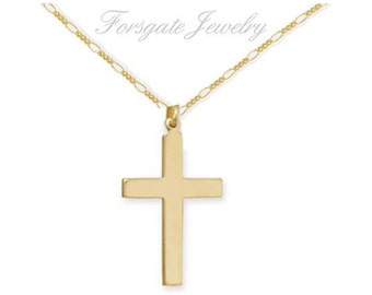 Gold Filled CROSS Pendant Necklace with a Gold Filled Figaro Chain  16 18 20 24 inch