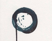 Enso I - December 2013, linocut print and sumi ink on watercolor paper, small art work