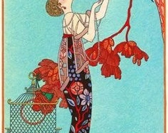 Art Nouveau Print of Woman Looking up at Bird in Red Tree by Barbier