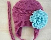 Knit Baby Girl Hat - Baby Girl Knit Hat - Baby Winter Hat - Knit Baby Hat - Baby Knit Hat - Baby Girl Wnter Hat