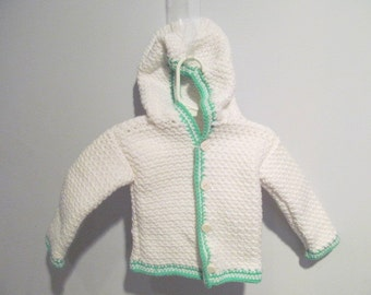 White Crocheted Button Sweater 12 month