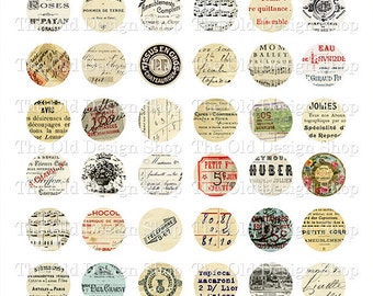 Vintage French Ephemera 1 inch Circles Printable Digital Collage Sheet