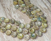 Green Czech Glass 12mm Sunflower Bead Luster 2 Hole Opaque Picasso PRAIRIE SUNFLOWER (10)