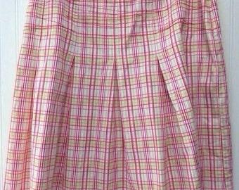 Vintage 1990s  Plaid  Pleated School Girl Skirt Size XL Plus Size Clueless