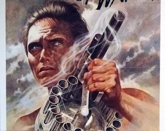 "DOGS OF WAR. 1981 Original 27"" x 41"" Movie Theater Poster. Excellent Tom Jung Art of Christopher Walken with Big Gun. Tom Berenger."
