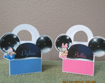 Personalized Baby Minnie & Baby Mickey Favor/Treat Bags 3x3 (set of 12)