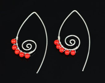 Sterling 999silver  red coral scroll earrings Bridesmaids gifts Free US Shipping handmade Anni designs
