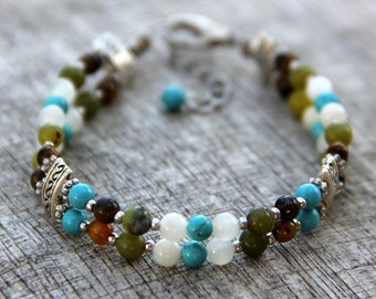 Turquoise stone layered Bracelet Bridesmaid gifts Free US Shipping handmade Anni designs