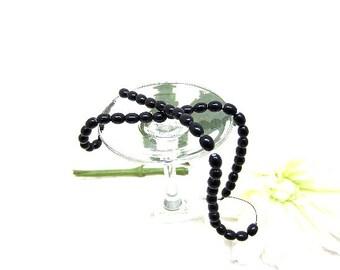 Beads Glass Black Ovals 8x6mm