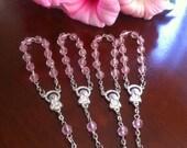 24 pcs  First communion favors / Mini  Rosary Baptism Favors/ Baptism favors/ Religious Mini Rosary / pink mini rosaries/girl favors  Narelo