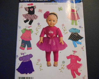 "Simplicity 0105, 18"" Doll Clothes, Tutu, leggings, dress, American Doll"