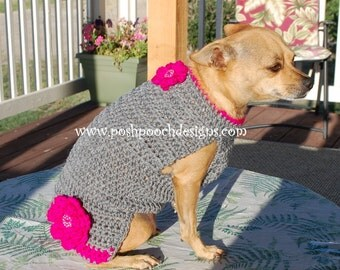 Instant Download Crochet Pattern - Rosie's Classic Dog Sweater - Small Dog Sweater 2-15 lbs