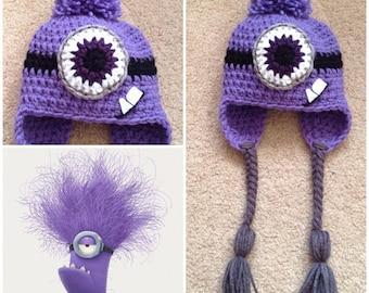 Crochet Evil Minion Beanie/Hat