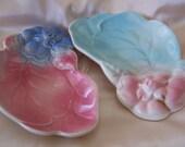 """Vintage 40's """"ROYAL COPLEY DISHES"""" Blue & Pink Dogwood Flower Leaf Trinket Dishes."""