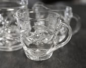 Clear Cut Glass Creamers Small Pitcher Set of Three Entertaining Wedding Decor
