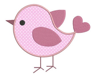 Instant download bird embroidery design applique