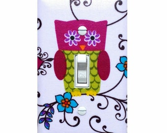 Owl Light Switch Plate Cover / Nursery Wall Decor / Children Kids Room / Owlivia Roost White Purple Green