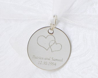 Heart Wedding Logo - Personalized Tag - Wedding Tag - Monogram Tag - Party Favor - Metal Tag - Personalized Gift Tag