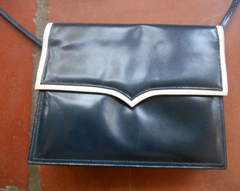 Vintage Jay Herbert leather handbag, clutch, navy with white trim retro classic traditional collectible