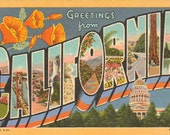 Linen Postcard, Greetings from California, Capitol, Golden Gate, Large Letter, 1944