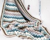 Crochet Granny Stripes Luxury Cashmerino Handmade Baby Blanket, Afghan - Beautiful Baby Gift, Ready to Ship, UK Seller