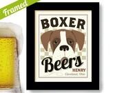 Boxer Dog, Beer Art, Personalized Boxer, Dog Art, Bar Art, Framed Gift, Custom Dog Portrait