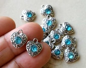 10 x 10 mm Tibetan Silver Heart Shape Charm Pendants / Drop Pendant / Light Blue Rhinestone  (.tu)