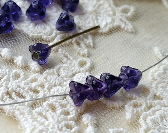 6 x 4 mm Dark Amethyst Color Czech Glass Baby Bell Flower Beads (.am)