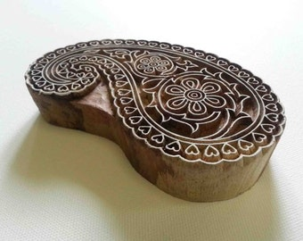 Paisley Indian Wood Stamp  - Wood Block Printing - Hand Carved - Large