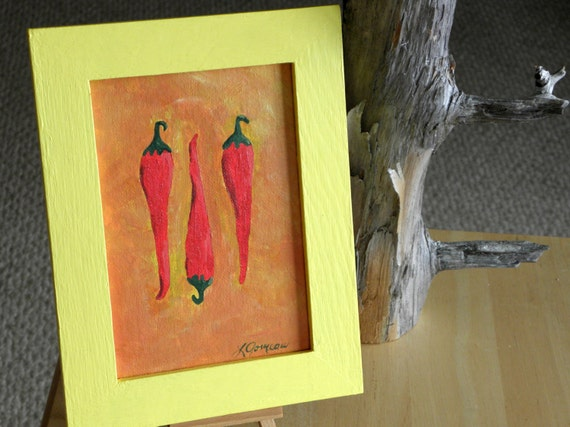 KITCHEN ART- Red Hot Chili Peppers Acrylic Painting, Bright Yellow Frame, Home Decor, Kitchen Decor, Red Orange Yellow