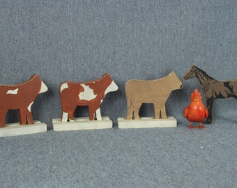 3 Wooden Cows and a Horse, Farm Animals, Wood