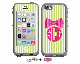Seersucker & Bow Tie Preppy Monogrammed Decal for LifeProof iPhone 6/6s, iPhone 6/6s PLUS, iPhone SE, iPhone 5/5s or iPhone 5c Case