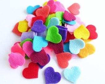 Felt Hearts bright colors, set of 70 pieces