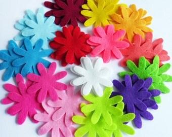 Felt flower Daisy, set of 42 pieces