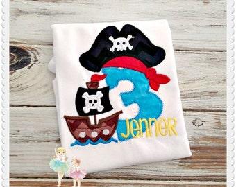 Pirate birthday shirt - boys pirate shirt - pirate ship shirt - pirate themed shirt - personalized birthday shirt - custom embroidery