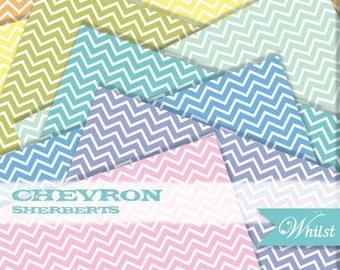 Chevron digital paper geometric scrapbooking orange yellow blue green pink purple aqua : B0196 sherbert v301