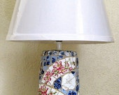 Vintage dish mosaic lamp, Johnson Bros Elizabeth dishes and floral accents