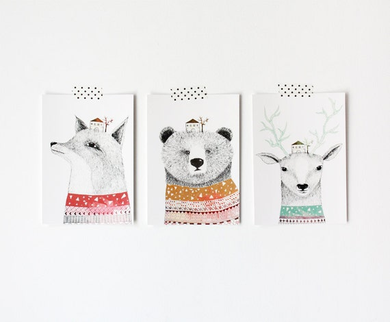 3 postcards pack  bear/deer/fox