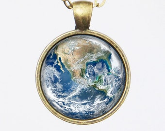 Planet Necklace - The Earth - Blue Marble Earth - Galaxy Series (G007)