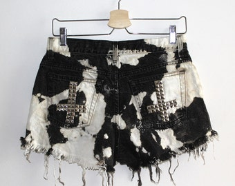 Denim Cutoff Shorts - Mottled Black Denim, Crosses Across the Pockets, Slashed and Frayed Denim Black Shorts