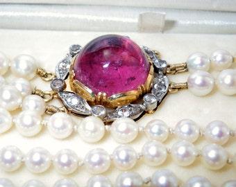 RARE Vintage Stigbert 1950's 18K Tourmaline Rock Crystal Pearl Bracelet
