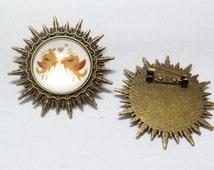 5pcs Antique Bronze Pin Brooch Cabochon Base Setting Charm Pendants 25mm E206-6