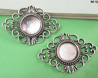 Cabochon Base Settings -10pcs Antique Silver Flower Bezel Charm Pendants 18mm AA204-6