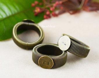 Ring Blanks -10pcs Antique Bronze Retractable Cabochon Ring Base Setting 12mm pad J4009