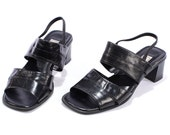 Block Heel Sandals 90s Black Slingback Shoes Slip On Leather Summer Open Toe Slider Shoes Goth Club Kid Heels . Us 8.5, Uk 6, Eur 39