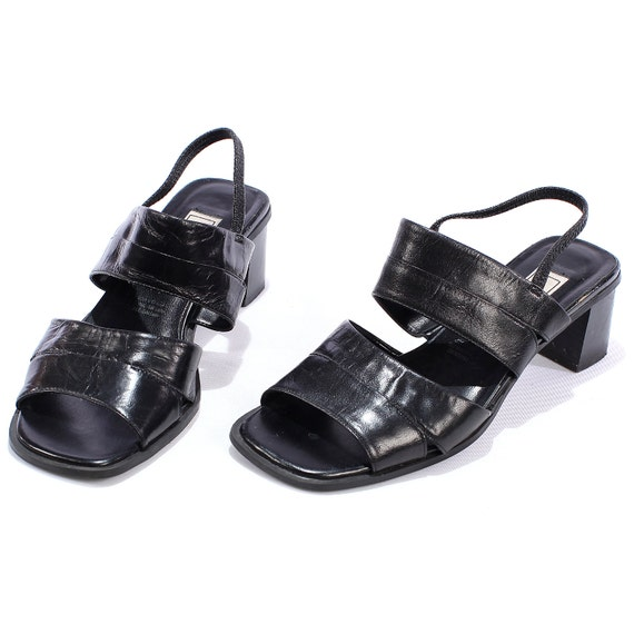 black 90s sandals slingback shoes slip on faux by