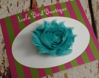 Hairclip - Toddler, Child, Baby - Aqua Turquoise Blue Shabby Flower - READY TO SHIP