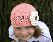 Crochet V Stitch Hat with Large Flower, Baby Shower Gift, Newborn to 5T-Preteen - Made to Order