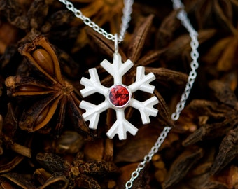 Christmas Gift - Snowflake Necklace - Snowflake Red Garnet Pendant on a fine silver chain - Free Shipping